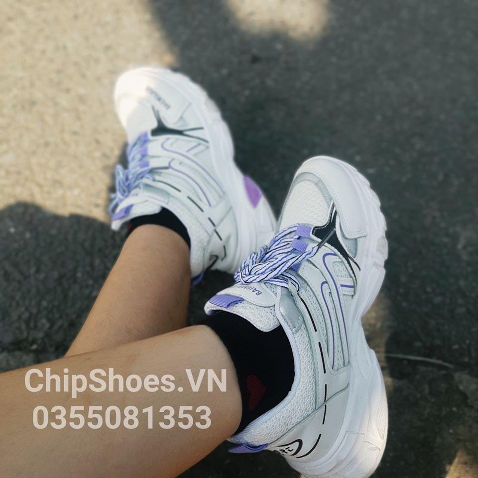 giày thể thao balenciaga tím trắng