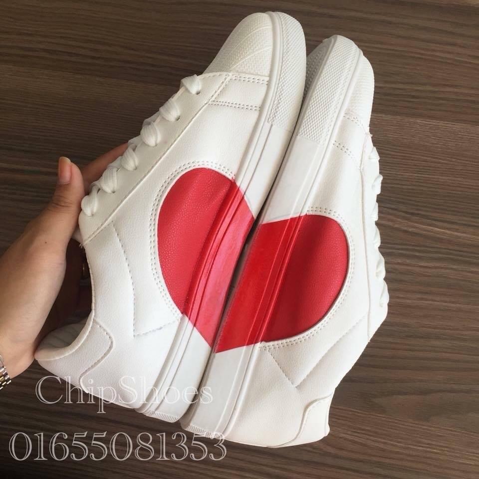 Giày Thể Thao Thời Trang Mũi Sò Tim Trắng Đỏ