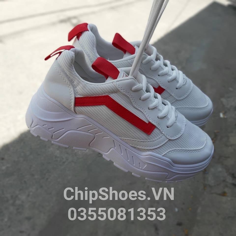 giày thể thao thời trang coex trắng đỏ