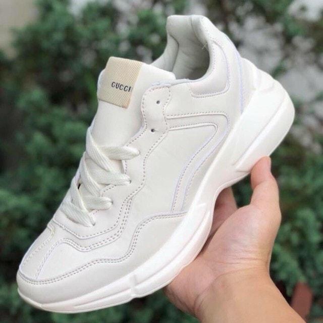 giày thể thao gucci kem trơn