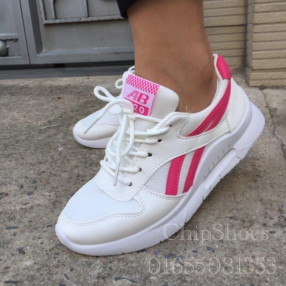 giày sneaker nữ trắng hồng