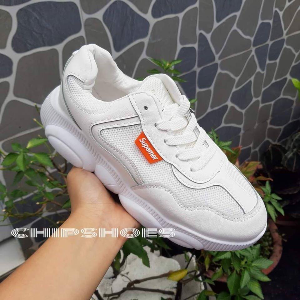giày thể thao hình đế gấu trắng vải